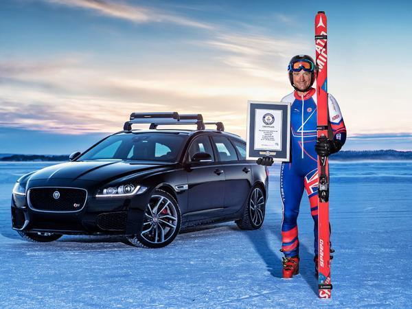 Jaguar teams up with Olympic skier to break world record